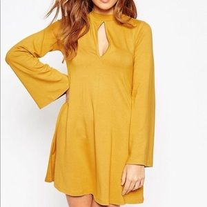 ASOS Yellow Tunic Long Sleeve Keyhole Dress Shirt